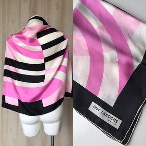 Guy Laroche Paris silk scarf pink black